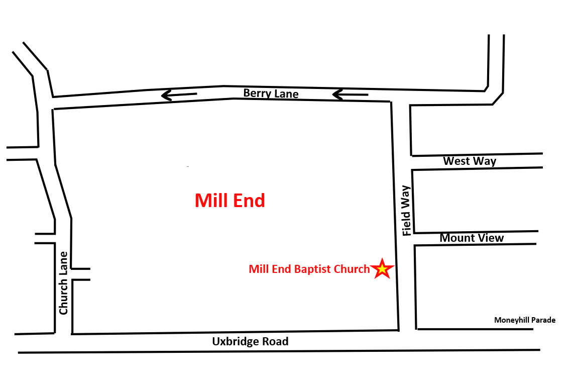 Map to Mill End Baptist Church